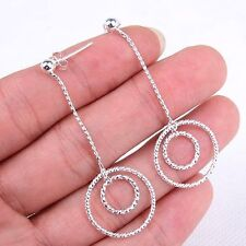 Couples Circle 925 Sterling Silver Dangle Earrings Jewelry 20MM X 50MM - M564
