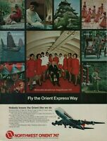 1972 Northwest Orient 747 Airplane Stewardess 9 Scenery Photos Vintage Print Ad