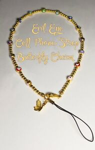 Cell Phone Strap Gold Beads Multicolor Evil Eye Clasp Lanyard Nazar Protection
