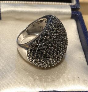 Vintage Silver 925 Black Diamanté Cluster Statement Ring 13.52g