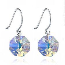 Boucles d'oreilles en Argent 925 & Cristal Octogone Aurore Boréale Blue
