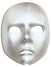 Plain Silver  Full Face Mask Robot Fancy Dress Stage Mime Masquerade Ball