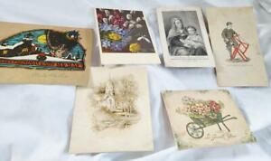 6 Vintage Antique Trade Card Greeting Cards Religious Card Boys Saw and Buck