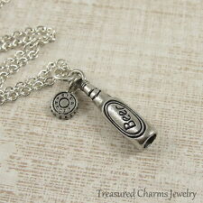 Silver Beer Bottle Charm Necklace - Bartender Alcoholic Beverage Jewelry NEW
