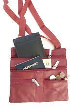 D Red Leather Passport  Holder CROSS BODY Travel  Messenger Sling Bag Adj Strap