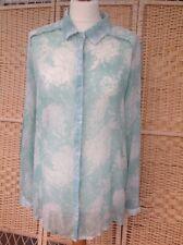 LINEA WEEKEND UK 12 Sheer Light Green & Cream Long Blouse Shirt House Of Fraser