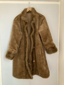 Vintage Dennis Basso Faux Fur Brown Teddy Coat Silk Lined Size Small 8 10 12