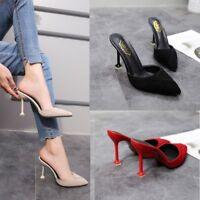 Women Fashion Pointy Toe High Stilettos Heel Slip On Mules Slipper Shoes Sandals