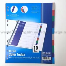 10 Tab Colored Dividers 3 Ring Binder Plastic Film File Folder Inserts Index C76