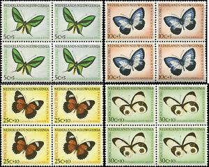 Netherlands New Guinea Scott #B23 - #B26  Blocks of 4  Complete Set of 5 MNH