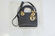 Christian Dior - Dior - Mini Lady Dior Black Leather Bag With Gold Tone Hardware