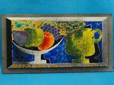 70's G. VALENTIN FRENCH SIGNED CERAMIC ART TILE PANEL LES ARCHANGES VALLAURIS