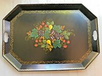Vintage Toleware Tray w Handles Black Gold Handpainted Fruit Signed Haxey 26.5""