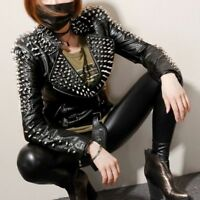 New Womens Punk Spike Studded Shoulder Faux Leather Jacket Coat Motorcycle Rivet
