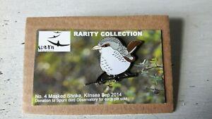 MASKED SHRIKE SBO Spurn enamel BIRD pin badge RSPB interest SGW Birding Brooch,