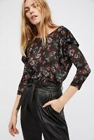 NWT Free People Dock Street Top Blouse Shirt Black Medium M