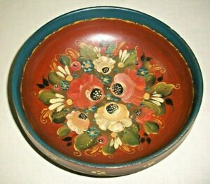 "VINTAGE FOLK ART NORWEGIAN ROSEMALING WOOD BOWL 3 3/8"" TALL 9 1/8"" ACROSS"