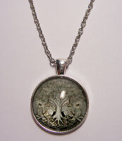 Tree of Life Design #5 Cabochon Pendant Necklace w/ Chain Unique Jewelry Gift