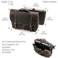 "Briefcase Mens 15.6"" Laptop Messenger Shoulder Bag Business Trip Leather Vintage"