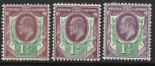 SG 287-289 1 1/2d Somerset House basic shade trio in very fine and fresh  L.M.M.