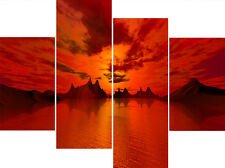 Large 4 Panel Set Red Orange Sea Water Sunset Canvas Pictures Wall Art Prints