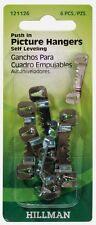 New! Hillman AnchorWire Steel Push Pin Self-Leveling Hanger 6 pk 121126