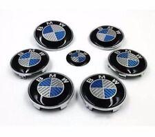 Fits Bmw Complete Set 7x (82+74+68+45mm) Carbon Fiber Blue/White Emblem Logo
