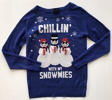 Womens Size XS X-small Ugly Sweater Christmas Holiday Snowman Sweater EUC