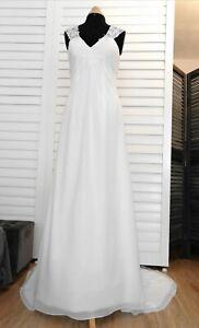Robe de mariée Pronuptia T40 en mousseline ivoire et dentelle blanche Empire