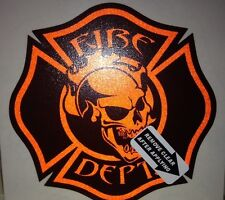 "Firefighter Helmet Decals, Orange Reflective Skull, 3.5""  #FD45"
