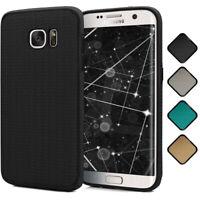 Back Cover für Samsung Galaxy S7 Edge Silikon Case TPU Textil Look Schutz Hülle