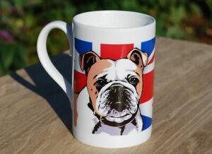 British bulldog - single porcelain mug with original illustration.
