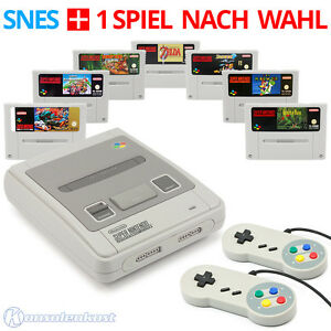 SNES - Super Nintendo Konsole + 2 Controller + Spiele wie Super Mario oder Zelda