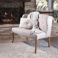 French Inspired Natural Beige Fabric Wingback Loveseat w/ Studded Accent