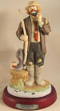 "Flambro Emmett Kelly Jr. Porcelain Clown Fisherman Professional Series 9"""