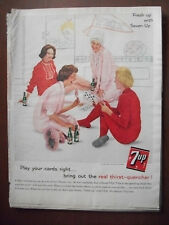 1961 VTG Orig Magazine Ad 7 Up Soda Girls Slumber Party Play Your Cards Right