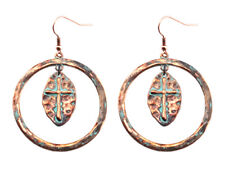 EARRINGS Copper Plated Pantina  Burnish Round Dangle Cross Pierced Wire Earrings