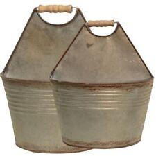 Set of 2 Galvanized Wall Pocket Buckets