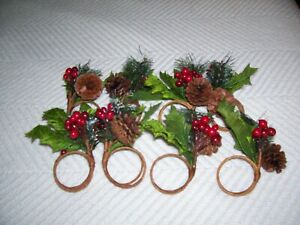 SUR LA TABLE WINTER GREENS/BERRIES AND PINECONE NAPKIN RINGS -  SET OF 8