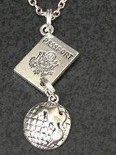 "Passport Globe 1/2-Oval Charm Tibetan Silver 18"" Necklace BIN"