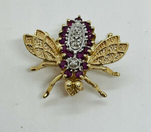 Vintage 14k Yellow Gold Diamond & Ruby Bee Pin
