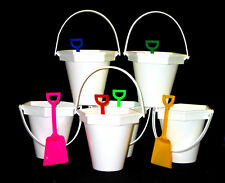 6 Small White Beach-Sand Buckets, Shovels, I Dig you Stickers Mfg USA Lead Free*