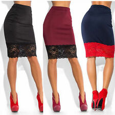 Women Elegant Floral Lace High Waist Wear to Work Party Bodycon Skirt AU
