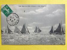 cpa Cachet NICE 1914 Sur la Côte d'Azur COURSE de BATEAUX VOILIERS Les RÉGATES