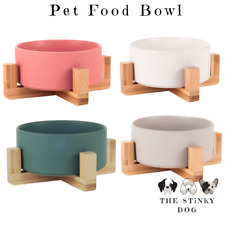 Dog Bowl Raised Non-Slip Cat Ceramic Wooden Luxury Pet Puppy Feeding Station UK