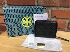 Authentic Tory Burch Fleming Medium Black Wallet Zip Around Zippy