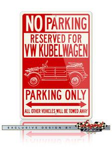 Volkswagen Kübelwagen Type 82 Reserved Parking Only 8x12 Aluminum Sign - VW Car