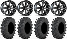 "MSA Black Kore 14"" UTV Wheels 32x9.5 Outback Max Tires Pioneer 1000 / Talon"