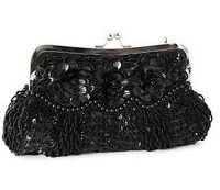 Black Evening Bag Sequin Bead Satin Clutch Party Bridal Prom