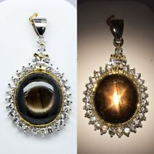 74.43ct Natural 6 Ray Black Star-Sapphire Pendant With Zircon in Sterling Silver